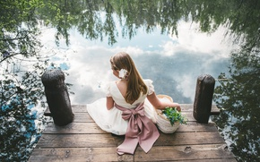 Picture water, flowers, mood, dress, girl, bow