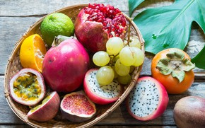 Picture orange, grapes, lime, fruit, garnet, persimmon, figs, pitahaya, maracuja