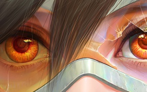 Picture art, Lena Oxton, overwatch, glasses, tracer, girl, eyes
