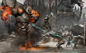 Wallpaper forest, warriors, God of War 4, monster, fight
