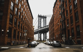 Picture bridge, city, the city, street, home, New York, the evening, Brooklyn, lights, after the rain, …