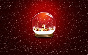 Wallpaper Background, New Year, Mood, Holiday, Ball, Minimalism, Winter, Christmas, Glass globe, Snow