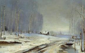 Wallpaper picture, Alexey Savrasov, Mudslides, snow, winter, road, trees, landscape