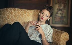 Picture girl, reverie, style, retro, sofa, mood, wine, glass, hands, makeup, blouse, bracelet, hairstyle, vintage, Milen …
