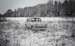 Picture winter, machine, Moskvich 407