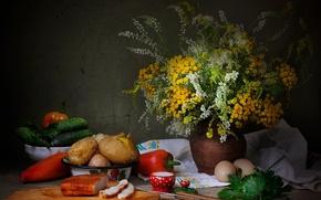 Picture greens, eggs, bouquet, pepper, still life, cucumbers, potatoes, fat