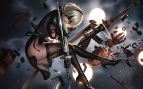 Picture girl, weapons, the game, art, yorha unit no. 2 type b, nier: automata