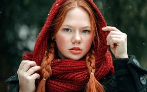 Picture snow, braids, redhead, Angelina Polar