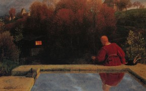 Picture pool, 1887, Return home, Symbolism, Arnold .. ..