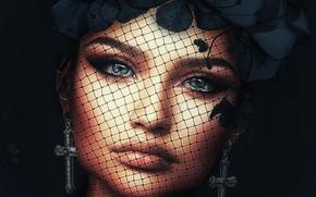 Wallpaper girl, face, cross, earrings, wreath, veil