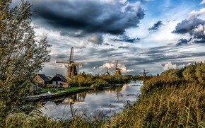 Picture the sky, grass, the sun, clouds, trees, home, mill, river, Netherlands, Kinderdijk