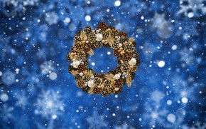 Picture Winter, Minimalism, Snow, New Year, Christmas, Snowflakes, Background, Holiday, Bumps, Wreath