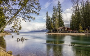 Wallpaper USA, stones, Glacier National Park, the sky, clouds, forest, house, lake, shore, trees, mountains
