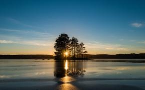 Picture sunset, lake, Sweden, island, Sweden, Easter Gotland, Tjärstad Parish
