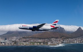 Wallpaper the sky, A-380, British Airways, sea, Airbus, the city, flight, Airbus, A380