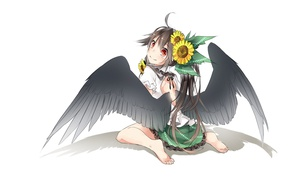 Picture sunflowers, back, shadow, white background, sitting, touhou, art, barefoot, Reiu Equipment, Utsuho, black wings, Touhou …