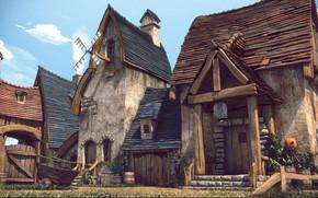 Wallpaper buildings, Cartoon City, final render