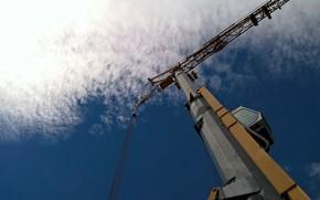 Picture white, blue, clouds, orange, cabin, crane, construction site, building site