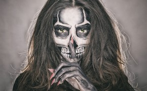 Picture eyes, girl, face, style, hair, skull, makeup, skeleton, manicure