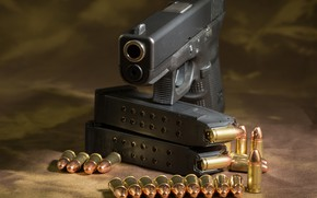 Wallpaper gun, cartridges, glock