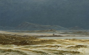 Picture mountains, lake, picture, Caspar David Friedrich, The Northern Landscape. Spring