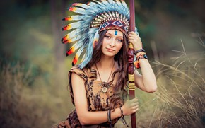 Wallpaper bow, roach, Catherine Dobrogea, girl, feathers, bokeh, Indian
