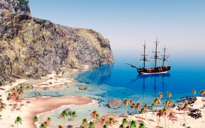 Picture sea, the sky, the sun, stones, palm trees, rocks, coast, ship, sailboat, 3D Graphics