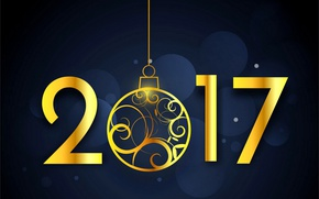 Picture New Year, golden, new year, happy, decoration, 2017