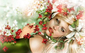 Picture flowers, Girl, Rendering