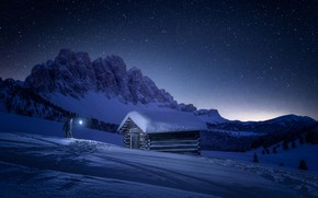 Wallpaper stars, the sky, house, people, winter, mountains, snow, light