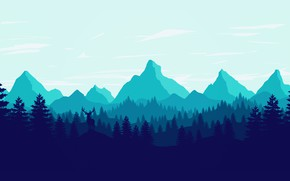 Picture Mountains, The game, Forest, View, Silhouette, Hills, Deer, Landscape, Art, Campo Santo, Firewatch, Fire watch