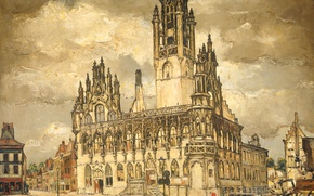 Picture oil, picture, canvas, the urban landscape, Raymond A Kimp, The desolate city Hall in Middelburg