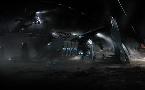 Wallpaper Esperia Prowler, planet, landing, starship, landing, Star Citizen, battle