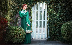 Wallpaper greens, girl, flowers, pose, style, retro, dress, basket, the bushes, wicket, Alexander, Olga Boyko