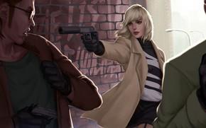 Picture girl, gun, Charlize Theron, art, blonde, killer, men, muffler, Lorraine Broughton, Atomic Blonde
