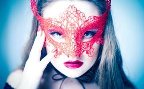 Wallpaper eyes, look, girl, face, lipstick, mask, lips