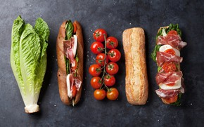 Picture cheese, bread, tomatoes, bacon, salad