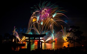 Wallpaper new year, Asia, torii, pines, night, fireworks, lights