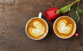 Picture love, heart, coffee, roses, Bud, Cup, red, love, rose, red rose, cappuccino, heart, wood, cup, …