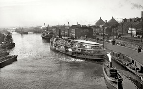 Picture bridge, the city, retro, river, ship, steamer, USA, 1904-the year