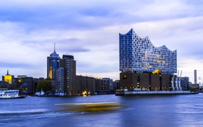 Picture harbour, Hamburg, home, hdr, Germany, The Elbe Philharmonic hall
