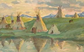 Picture home, Joseph Henry Sharp, Glacier Park, Blackfeet