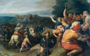 Picture tree, oil, picture, battle, Otto van Veen, Batavi Besieged by the Romans in the wind