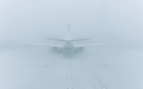 Picture aviation, fog, the plane