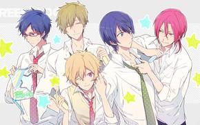 Picture emotions, glasses, tie, guys, friends, art, blue hair, white shirt, Nanase Haruka (Free!), Matsuoka Rin, …