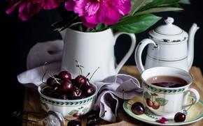Picture tea, cherry, peonies