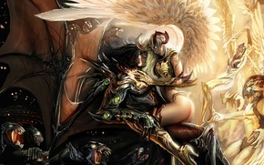 Wallpaper Light, Wings, demon, light, girl, fantasy, Darkness, Angels, Demons, horns, wings, boy, couple, angel, good, ...