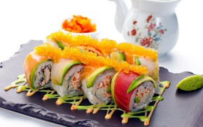 Picture fish, sauce, caviar, rolls