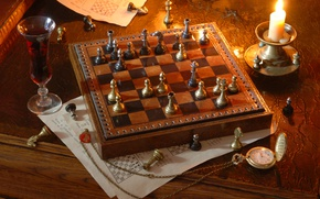 Picture wine, watch, candle, chess