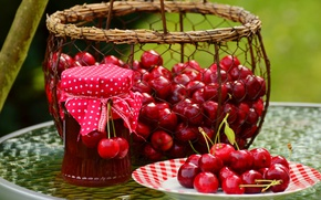 Picture red, cherry, berries, table, mesh, basket, the sweetness, food, harvest, plate, Bank, fabric, basket, al, ...